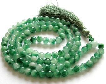 8mm White Green Stone 108 Prayer Beads Tibet Buddhist Buddha Mala Necklace  ZZ265