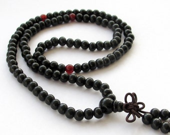 6mm Tibetan Black Wood 108 Beads Buddhist Buddha Prayer Stretchy Rosary Beaded Mala   ZZ013