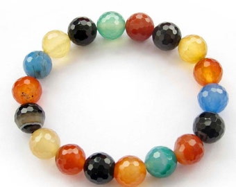 10mm Mutli-Color Faceted Agate Gemstone Beads Stretchy Charm Beaded Bracelet  T2527