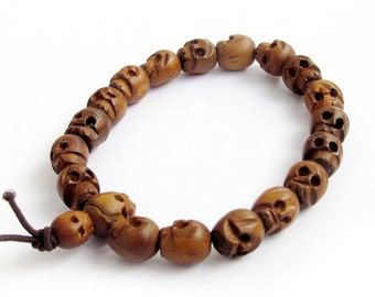 10mm x 8mm Jujube Wood Carved Skull Beaded Hand String Prayer Beads Tibet Buddhist Mala Bracelet  T2597