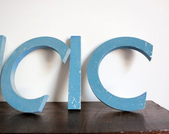 Retro Blue Metal Letters