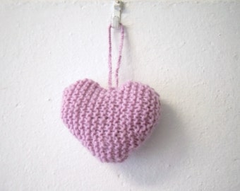 Knitted Heart, Pink Knitted Hanging Heart Ornament, Valentine.