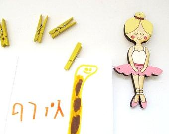 Children artwork display hanger-Ballerina- Pink  wall art for girls - kids wall decor hangers, baby shower decoration