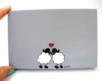 Door sign for couples home personalized name plate white and grey sheep canvas sign valentines gift