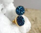 Blue Druzy Studs Drusy Earrings Titanium Quartz Gold Vermeil Bezel Set