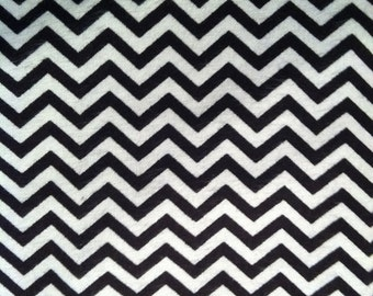 Black and White Chevrons- Flannel  - 1 yards - Precut
