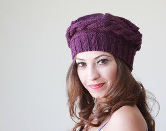 Women Winter knit hat in plum color, Hand Knitted beret for women, winter trend hat