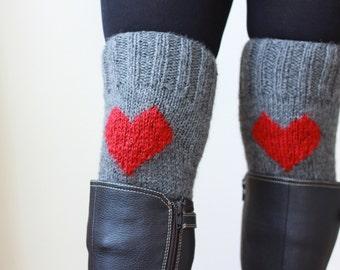 Heart Knit Boot Cuffs, Love Heart Short Leg Warmers. Crochet heart Boot Cuffs. Legwear, Women Accessories