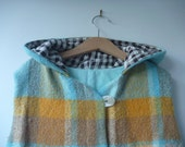 childrens clothing Hunter vest in turquoise and mustard check size 6