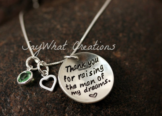 """Sterling Silver """"Thank you for raising the man of my dreams"""" Necklace for Mothers/Mother in Law"""
