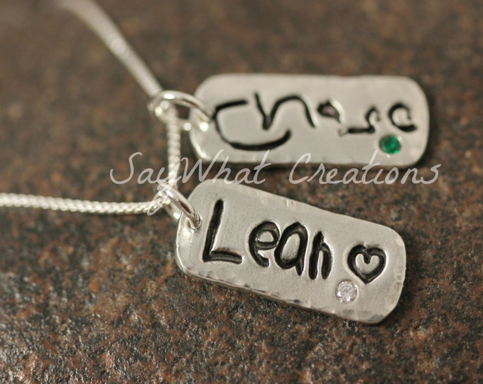 Your Child's Actual Handwriting Necklace with THREE solid silver tags with embedded birthstones