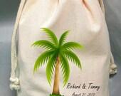 50 8x12 Drawstring Bags- Wedding Favor-Party Favor - Pick SIze - Muslin Bag -Palm Tree- Customize
