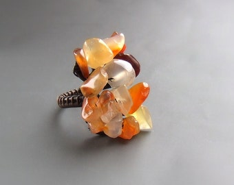 Boho red carnelian ring, orange gemstone ring, bohemian stone jewellery, rustic handmade jewelry