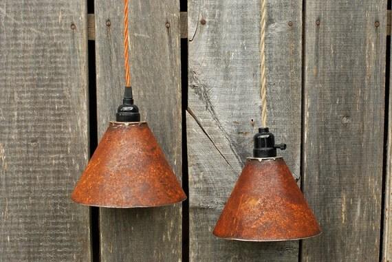 Items similar to Rustic Metal Pendant Lighting, Rustic ...