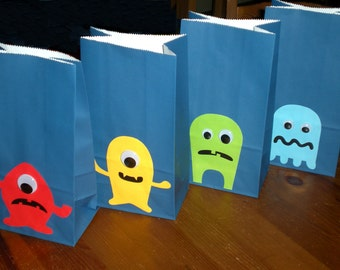 Monster Birthday party Favor/Treat bags - Set of 10 - in 4 designs with wiggly eyes