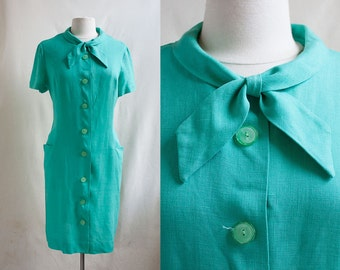 60s Seafoam Green Dress / Tie Neck / Shift Dress / Linen / Size XL