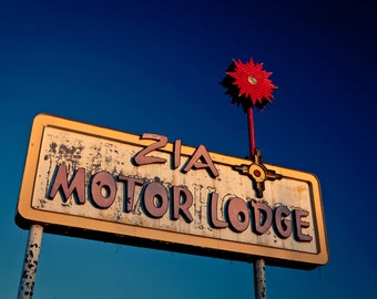 Route 66 Zia Motor Lodge - Neon Sign - Graphic Wall Art - Colorful Home Decor - Albuquerque - Breaking Bad - Fine Art Photography