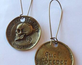 Pirate Skull Coin Earrings
