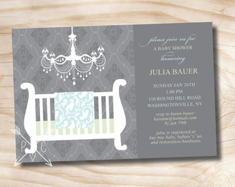 ELEGANT CHANDELIER BLANKET Baby Shower Invitation - Printable Digital file or Printed Invitations