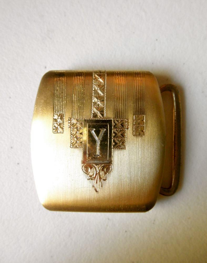 art deco gold belt buckle 10k gold filled mens monogrammed y