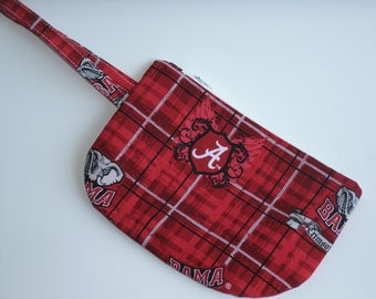 University of Alabama Wristlet/Wallet/Pouch with zipper top and wrist strap
