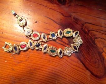 Exceedingly Sublime VICTORIAN Embossed, Gold Plate SLIDER CHARM Vintage Bracelet w/17 Enamel & Rhinestone Charms - Mint