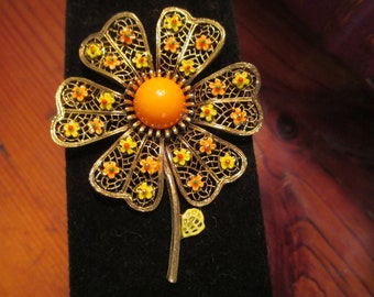 Beautiful, Colorful, Terrific ART-Signed Dimensional Orange & Yellow ENAMEL and 24k Gold Plate FILIGREE Daisy Vintage Brooch/Pin