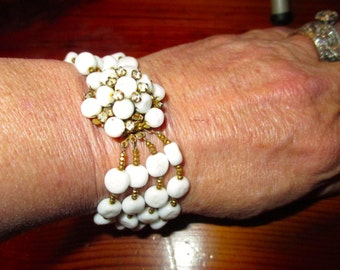 MIRIAM HASKELL- Signed, Iconic Baroque White MILK Glass Cluster Vintage Bracelet W/Large, Domed Clasp w/Rhinestones