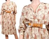 70s Vintage Dress - Day Dress - Floral Bohemian Princess Dress - 3/4 length sleeves - Small - Medium