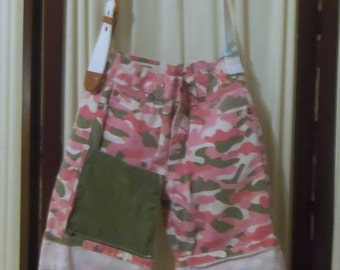Reconstructed Recycled EcoFriendly Hand Bag Pink/Green/White Camo Very Cool