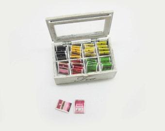 Miniature dollhouse wooden tea box with tea bags