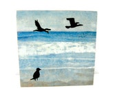 Seagulls Shorebirds by the Blue Sea 6x6 Wood Art Block Paper Lithography Mixed Media