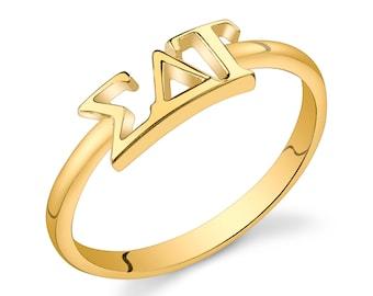 Gold Vermeil Sigma Delta Tau Letter Ring