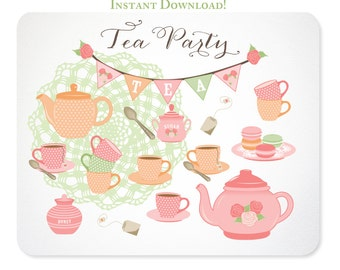 Tea Party Clipart - Pink Rose - Doily, Bunting, Tea Set, Macarons - Instant Download