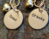 TWO New Grandma Necklaces - Gift For new Grandma Mommy Necklace- Baby Charm Necklace, Gold Grandma Mommy Necklace, Grandma, Nene, Nanny, Om