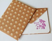Thank You Card  - Set of 2 Stationery - Hot Pink Fuschia Flowers with Brown and Mini Flowers