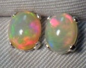 Orange Pink 3.44 Carat Solid Opal Cabochon Stud Earrings Appraised at 950.00
