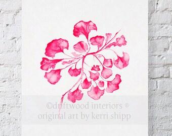 Sea Fan IV in Raspberry Watercolor Print - Sea Life Wall Art in Raspberry Red - Sea Coral Print