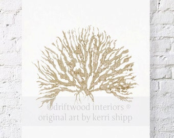 Sea Coral in Natural IV 11x14 Watercolor Print - Sea Coral Wall Art in Natural Taupe