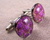 """Cuff Links Dichroic - Pink Magenta Bubbles Texture - 3/4"""" 2cm - Golden Yellow Reflections Fused Glass"""