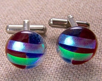 "Cuff Links Dichroic - Round Red Blue Green Teal Striped Layered - 1/2"" 15mm - Dichro over Clear Stained Glass Fused Glass"