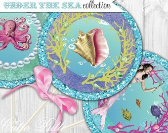 """Mermaid Party Printable 4"""" Themed Party Circles by Cutie Putti Paperie"""