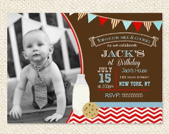 Milk and Cookies Birthday invitation - First birthday - 1s Birthday - Milk and Cookies invitations