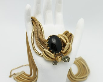 Vintage Hobe Necklace signed Gold Mesh and Black Glass