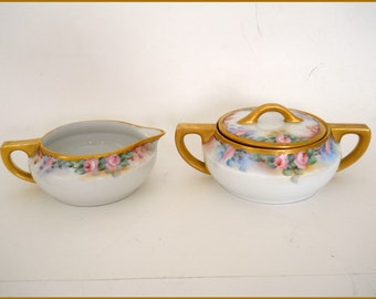Limoges Bavarian Porcelain Antique Cream/Sugar Bowl Hand Painted Roses  - June Sale