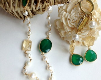 Long  Pearl Necklace  with Emerald Chalcedony and Citrines with matching earrings