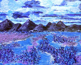 "Impressionism Painting, Impressionistic Painting, Landscape Painting, 12""x16"", Blue and purple Painting, Van Gogh Like Landscape Painting"