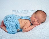 Crochet Baby Shorts/Pants with Suspenders- Diaper Cover in Newborn Size Choose Your Color- MADE TO ORDER