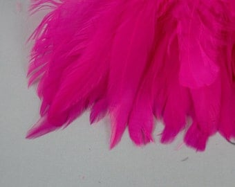 feathers Strung Schlappen Dyed hot pink 6 to 8 inches  SCH-15