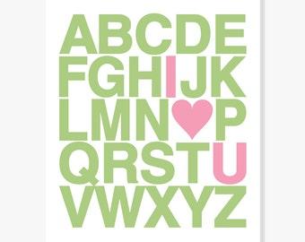 Alphabet ABC Poster ABC Art Print Alphabet Nursery Decor ABC Wall Art, Custom Colors
